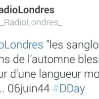 """Ici #RadioLondres, """"Les sanglots longs des violons de l'automne blessent mon cœur d'une langueur monotone"""", je répète..."""