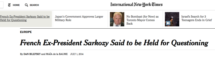 NYTimes Sarkozy