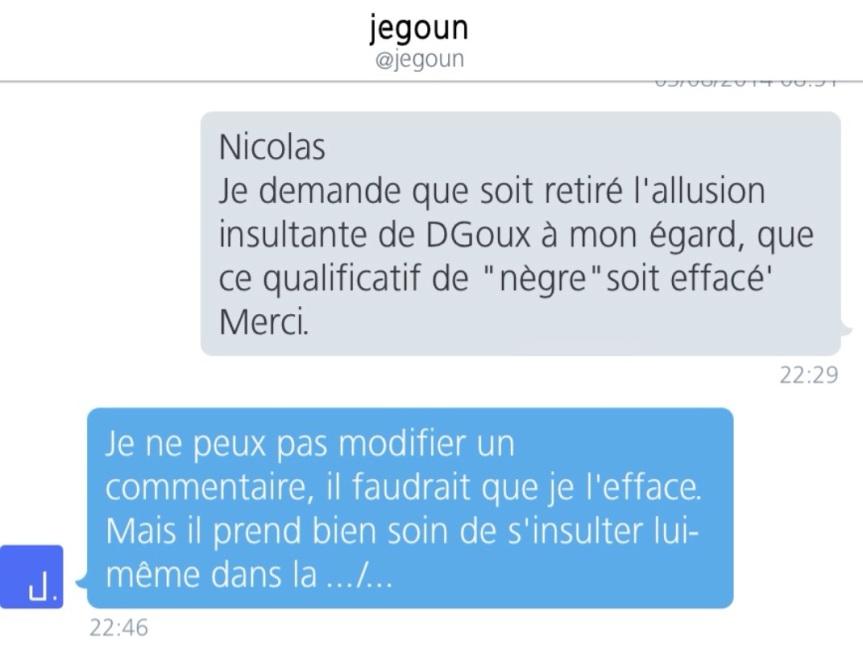 DM jegoun Nègre pas insulte