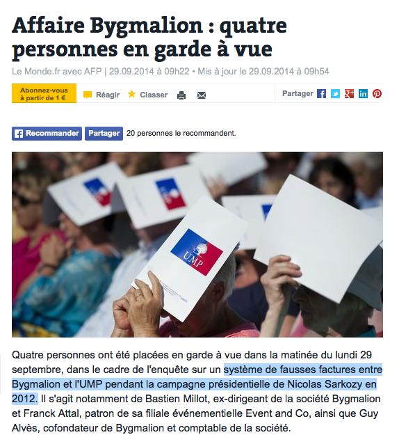 BYgmalion UMP Sarkozy Copé Garde à vue Fausse facture
