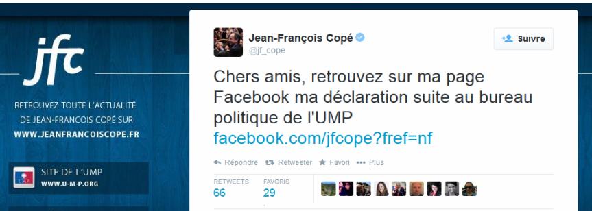Dernier tweet de JF Copé