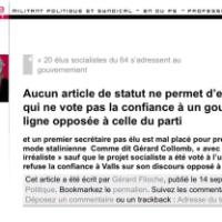"""JC Cambadélis: """"Le frondeur qui vote contre la confiance, je le vire du PS!""""..."""