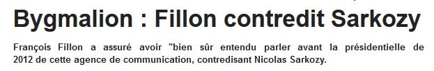 Bygmalion Fillon contredit Sarkozy