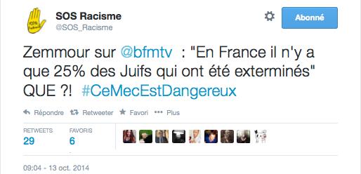 Tweet SOS racisme zemmour