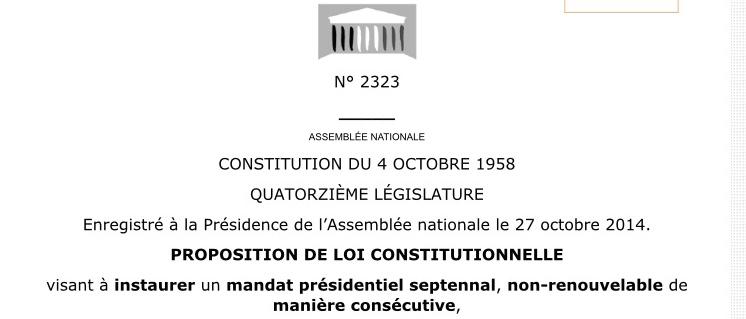 Projet de loi Révision Constitution Mandat présidentiel