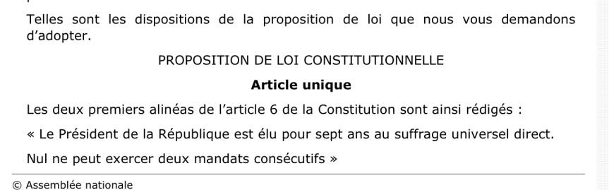 Projet de loi Révision Constitution Mandat présidentiel2
