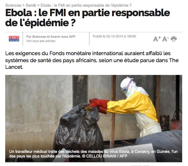 Ebola en Afrique, FMI