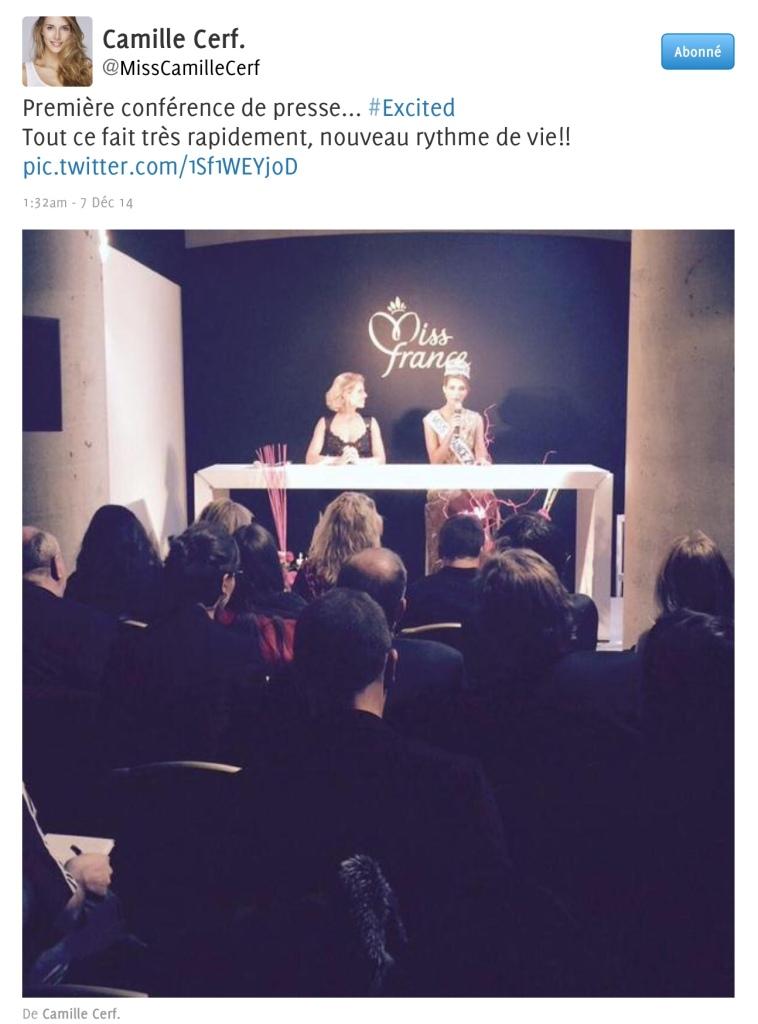 Premier tweet de Miss France Camille Cerf