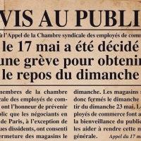 """Travail du Dimanche: """"Avis au public"""", Appel du 17 mai 1869 ..."""