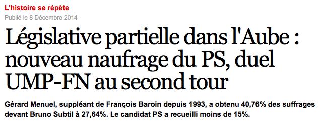 Resultats legislative partielle Aube Manuel Valls