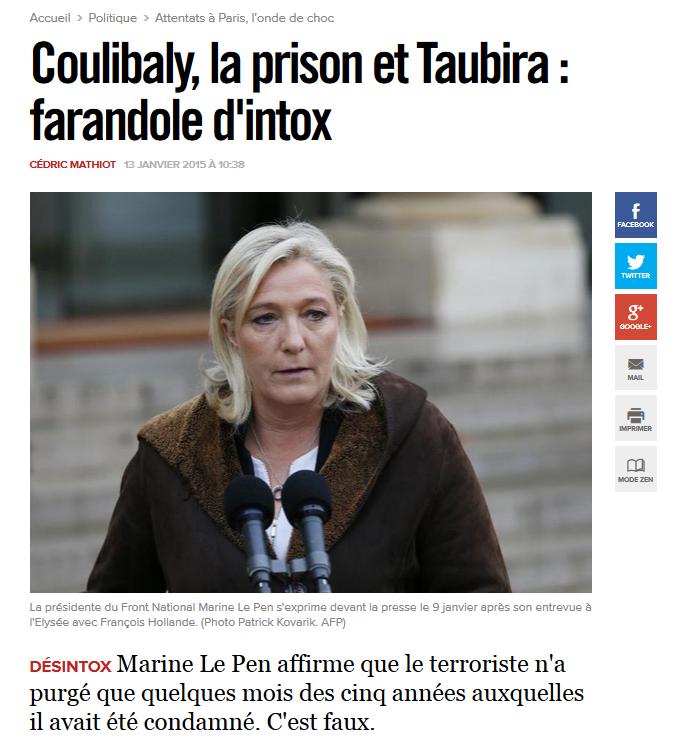 Coulibaly Loi Taubira Marine Le Pen