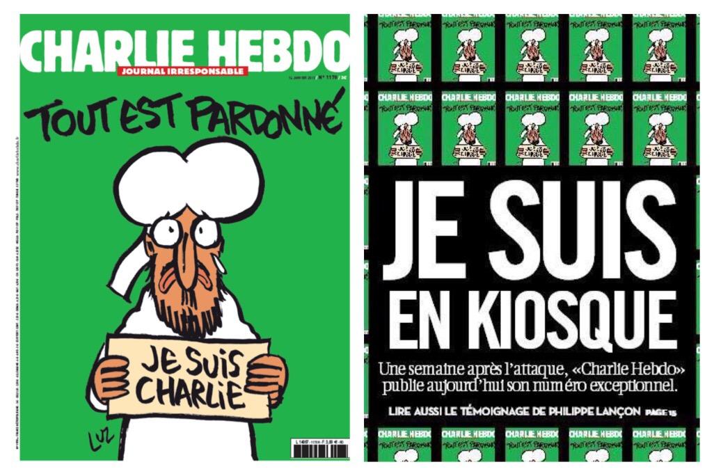 Mahomet, UNE Charlie Hebdo, Numero d'après, Larme Tout est pardonné, je suis Charlie