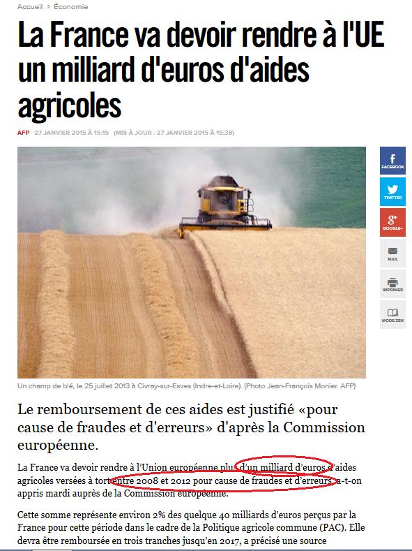 La France va devoir rendre à l'UE un milliard d'euros d'aides agricoles