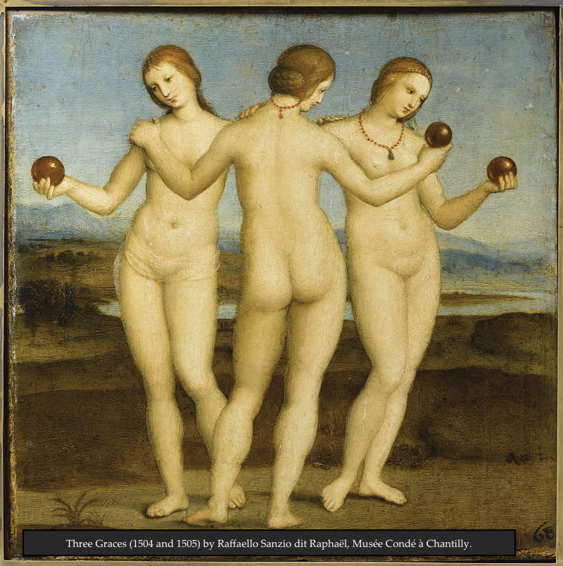 Three Graces (1504 and 1505) by Raffaello Sanzio dit Raphaël, Musée Condé à Chantilly.