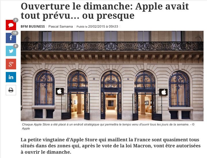 Apple et la Loi Macron Ouverture les dimanches