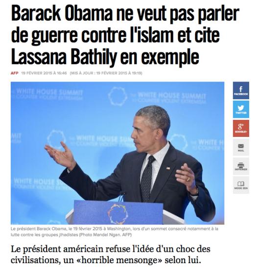 Barack Obama ne veut pas parler de guerre contre l'islam et cite Lassana Bathily en exemple