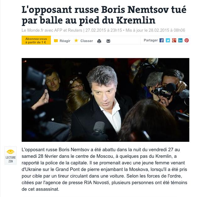 Boris Nemtsov tué par balle au pied du Kremlin