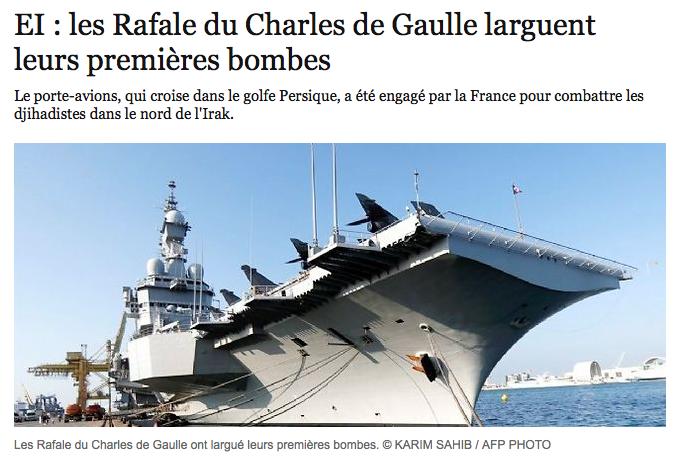 EI : les Rafale du Charles de Gaulle larguent leurs premières bombes
