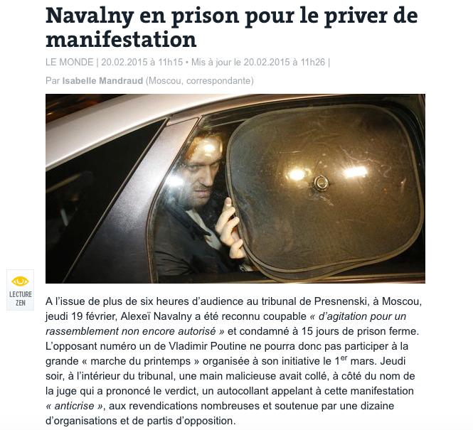 Navalny en prison pour le priver de manifestation