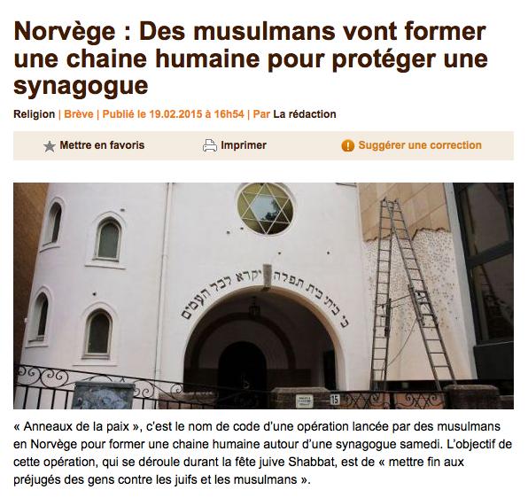 Norvège : Des musulmans vont former une chaine humaine pour protéger une synagogue
