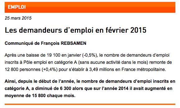 Chiffres du chômage Février 2015