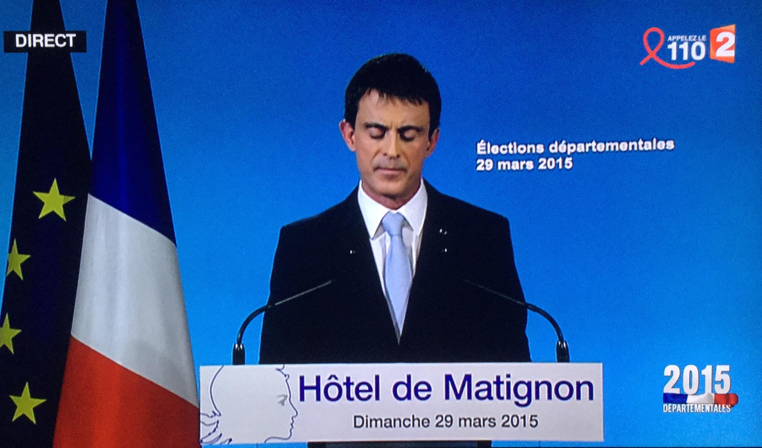 Résultats departelentales 2015 Discours de Valls Essonne Corrèze Gauche défaite