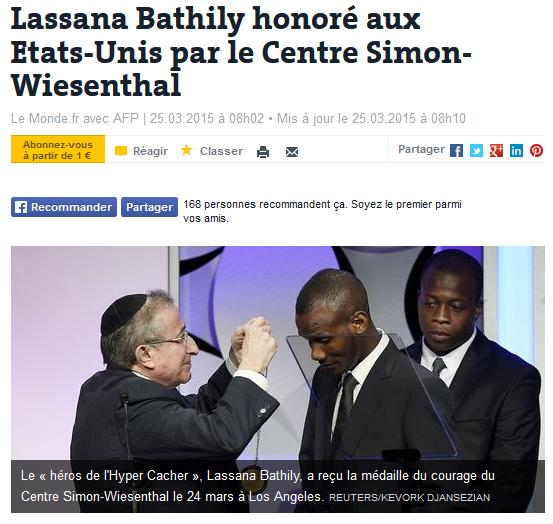 Lassana Bathily honoré aux Etats-Unis par le Centre Simon-Wiesenthal