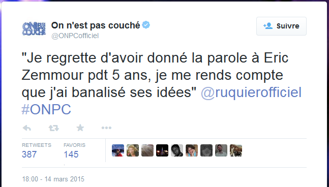 Tweet de Laurent Ruquier