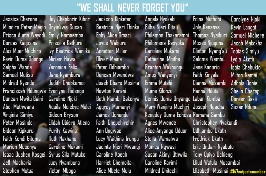 Attentat Kenya 03 avril 2015 #147notjustanumber