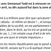 """Emmanuel Todd et le conservatisme de """"cette France qui est aux commandes"""" ..."""