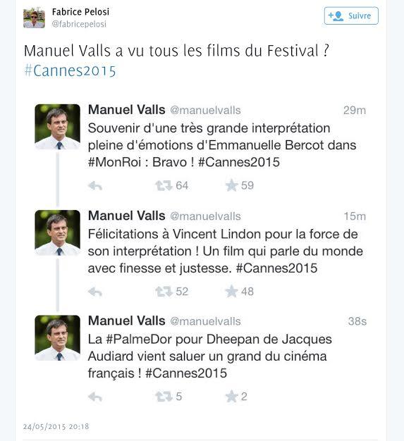 Cannes 2015, Valls a tweeté