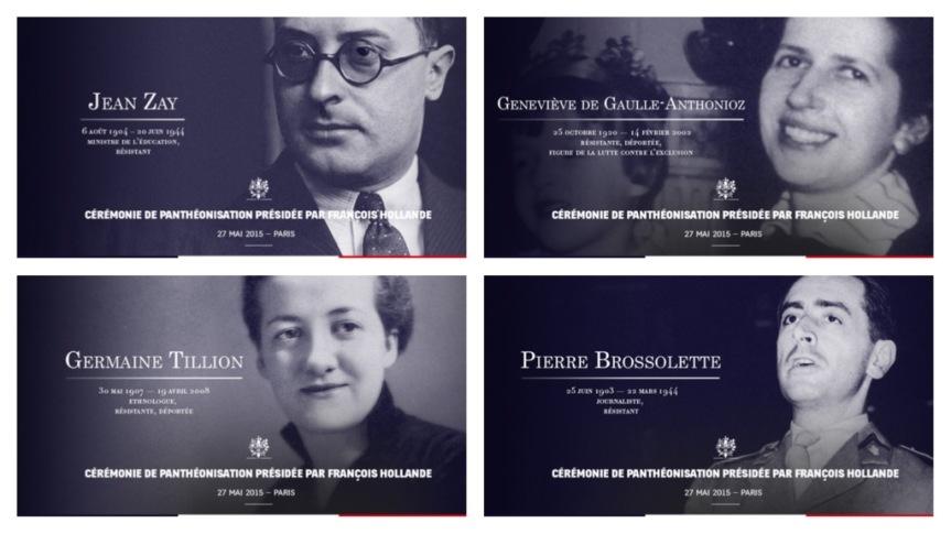 Pierre Brossolette, Geneviève de Gaulle Anthonioz, Germaine Tillion et Jean Zay