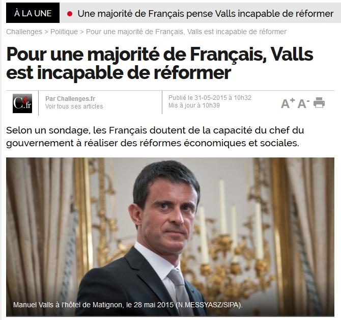 Pour une majorité de Français, Valls est incapable de réformer