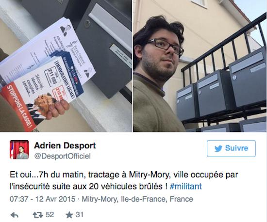 Adrien Desport Un ancien militant du FN soupçonné d'être l'auteur d'incendies de voitures qu'il a lui-même dénoncés