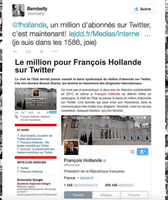 F Hollande million d'abonnés twitter