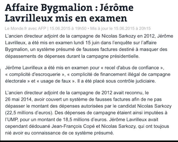 Lavrilleux Sarkozy Bygalion Copé