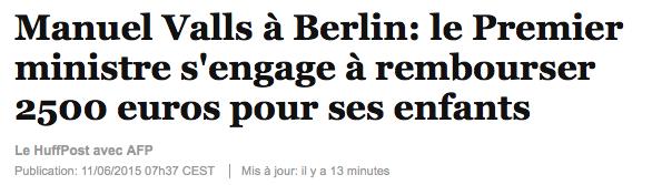 Manuel Valls à Berlin: le Premier ministre s'engage à rembourser 2500 euros pour ses enfants