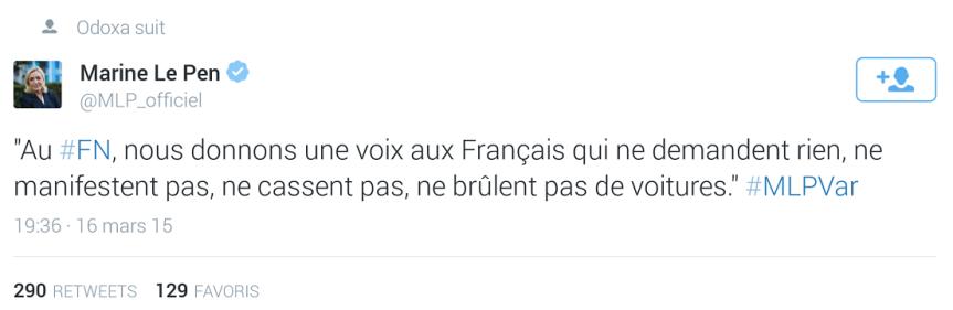 Marine le Pen Var Casseurs voitures brulées