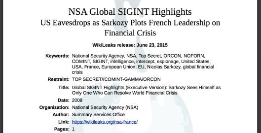 NSA Global SIGINT Highlights US Eavesdrops as Sarkozy Plots French Leadership on  Financial Crisis