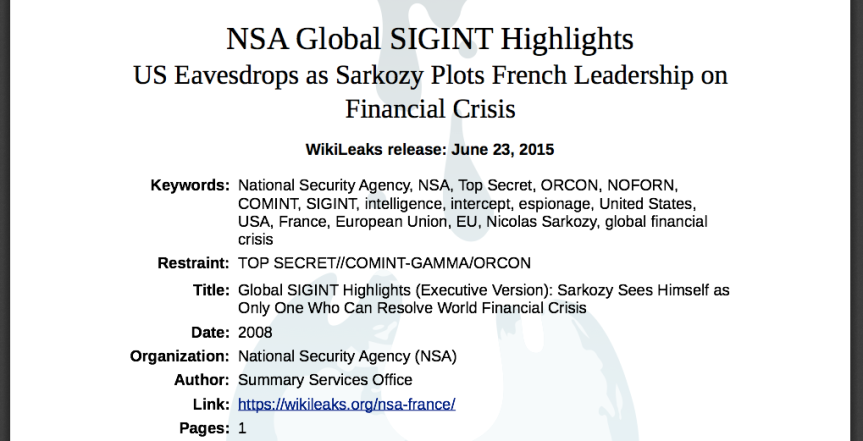 NSA Global SIGINT Highlights US Eavesdrops as Sarkozy Plots French Leadership on  Financial Crisis