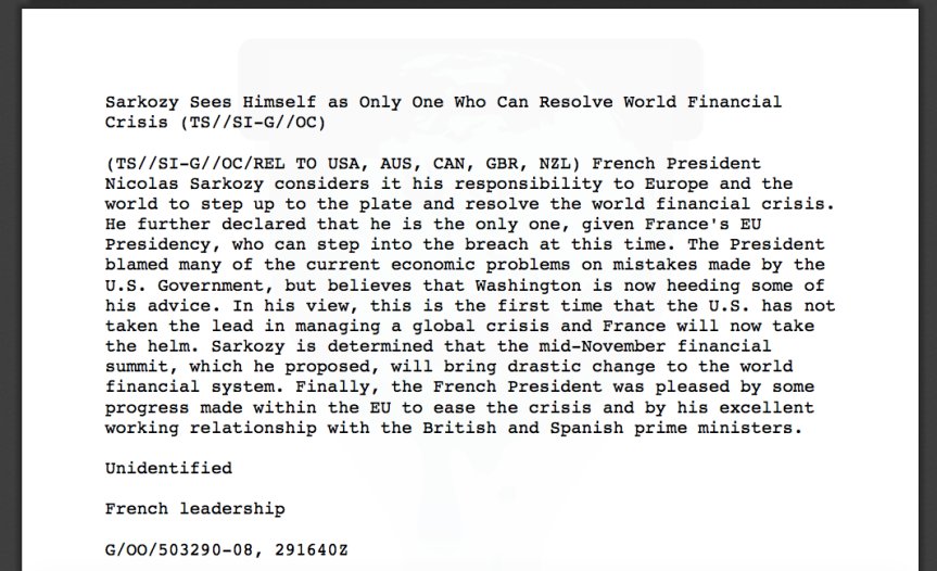 Sarkozy Sees Himself as Only One Who Can Resolve World Financial  Crisis (TS::SIG::OC)