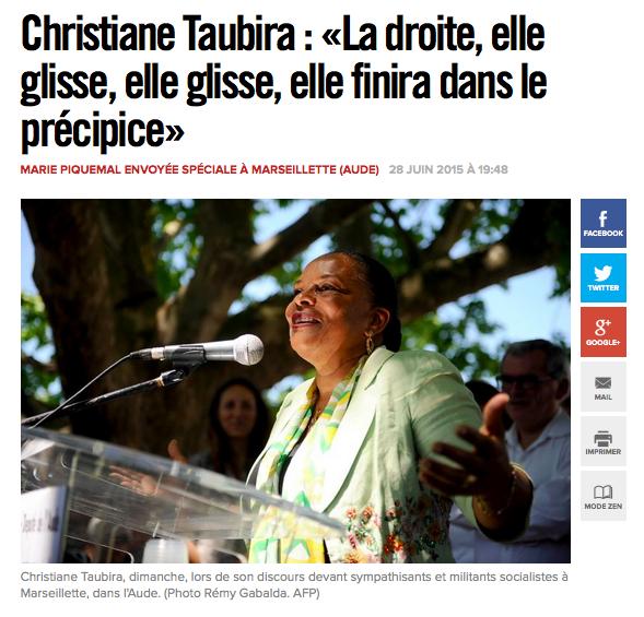Taubira Critique la Droite ou VAlls