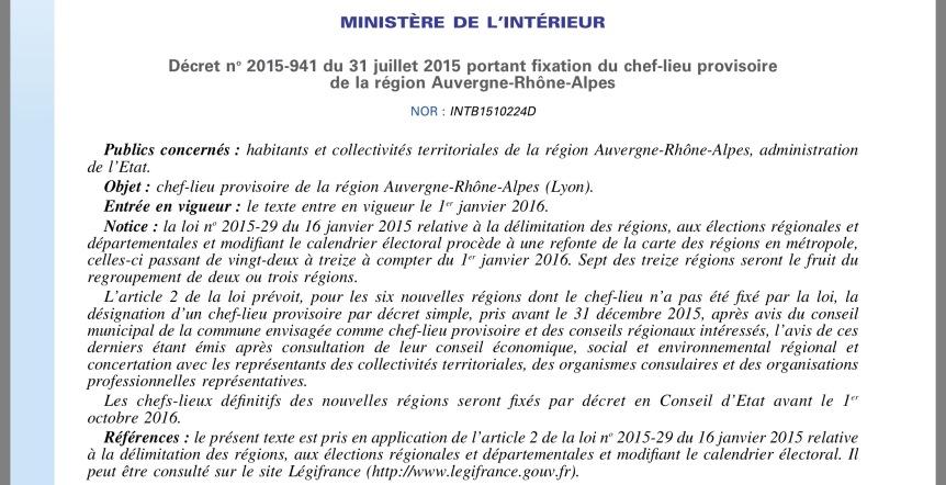 Décret chef lieu provisoire des Régions 2015
