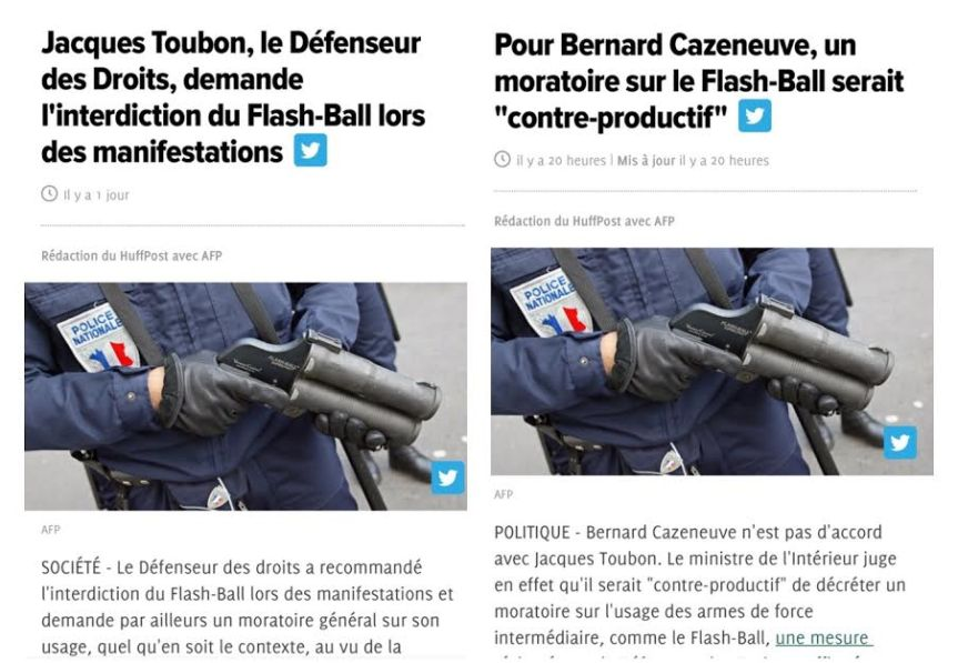 Flash Ball Cazeneuve Toubon moratoire