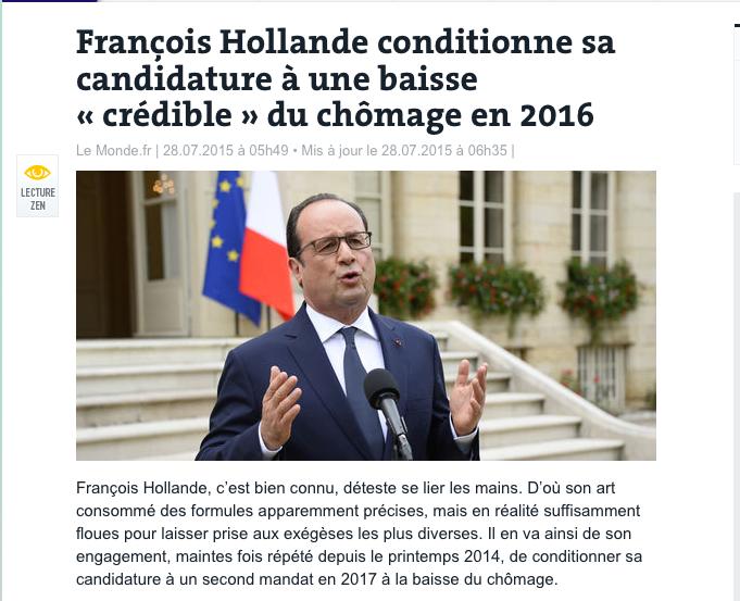 François Hollande conditionne sa candidature à une baisse « crédible » du chômage en 2016