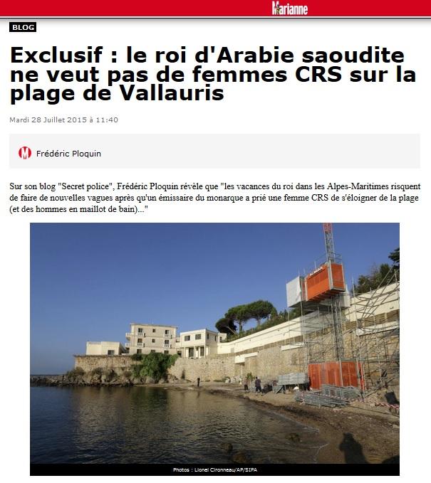 le roi d'Arabie saoudite ne veut pas de femmes CRS à Vallauris