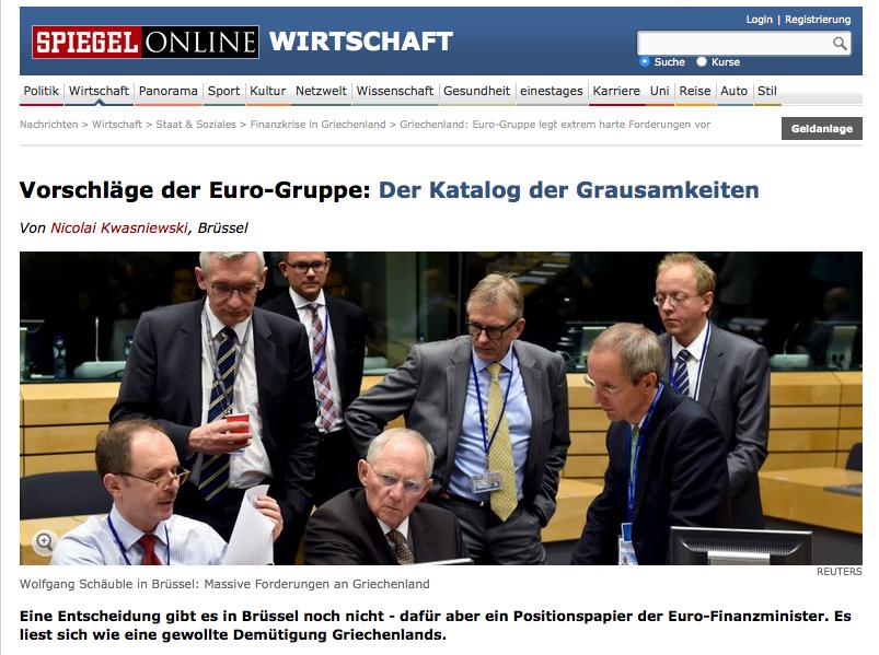 Propositions de l'eurogroup grèce catalogue des atrocités