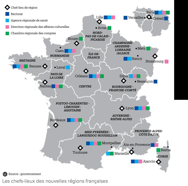 Quelles sont les capitales des nouvelles régions