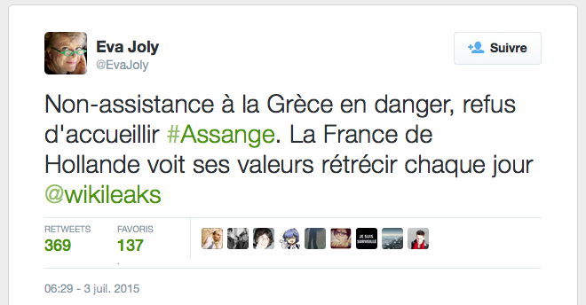 Tweet d'eva joly Assange Hollandepng