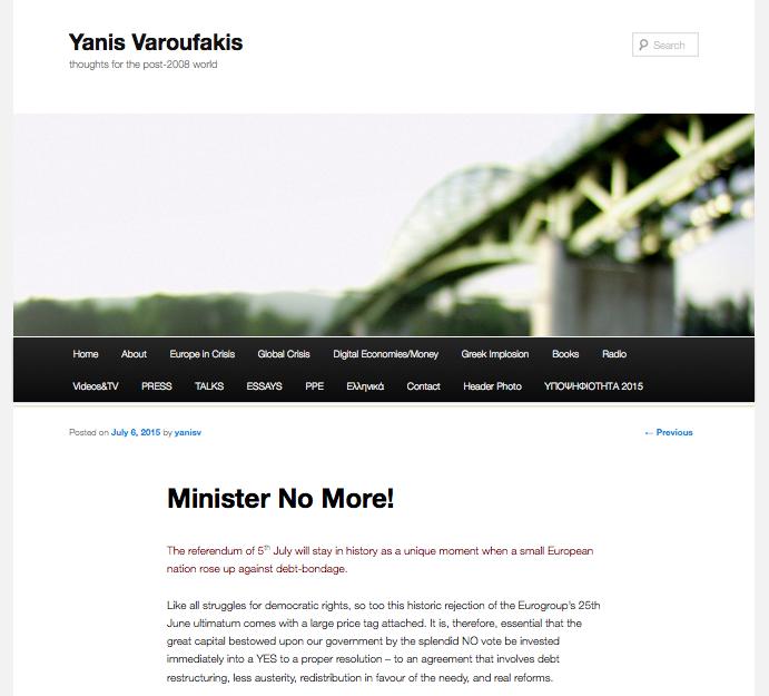 Yanis Varoufakis démissione